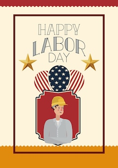 Happy labor day card with buider and usa flag