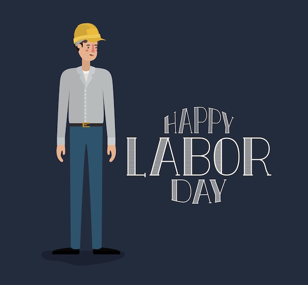 Happy labor day card with buider