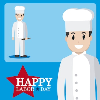 Happy labor day card with chef cartoon