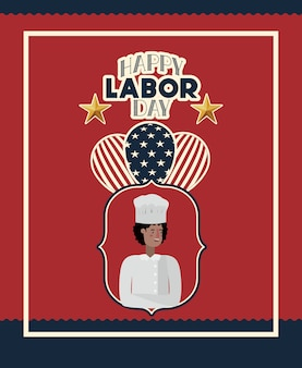 Happy labor day card with chef and usa flag