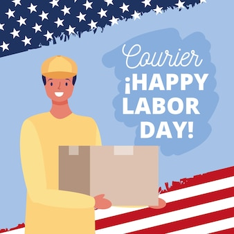 Happy labor day card with courier cartoon illustration