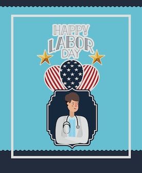 Happy labor day card with doctor and usa flag