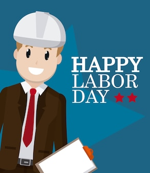 Happy labor day card with engineer