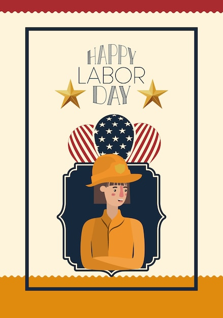 Happy labor day card with firefighter and usa flag