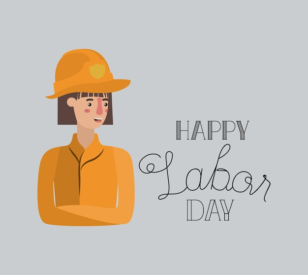Happy labor day card with firewoman