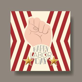 手の拳とアメリカの旗と幸せ労働日のカード