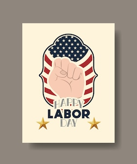 Happy labor day card with hand fist and usa flag