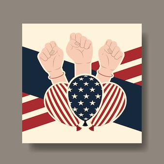 Happy labor day card with hands fist