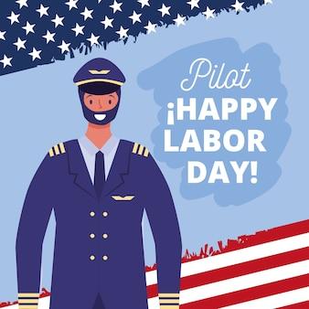 Happy labor day card with pilot cartoon illustration