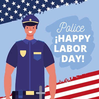 Happy labor day card with police cartoon illustration