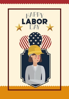 Happy labor day card with woman builder and balloons