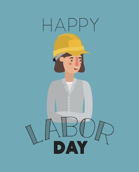 Happy labor day card with woman builder