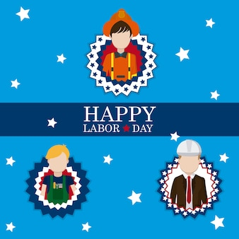 Happy labor day card with workers cartoons