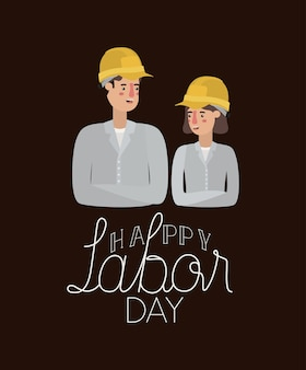 Happy labor day card with workers couple