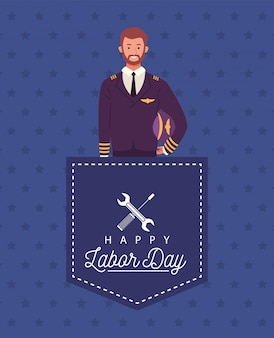 Happy labor day celebration with airplane pilot worker