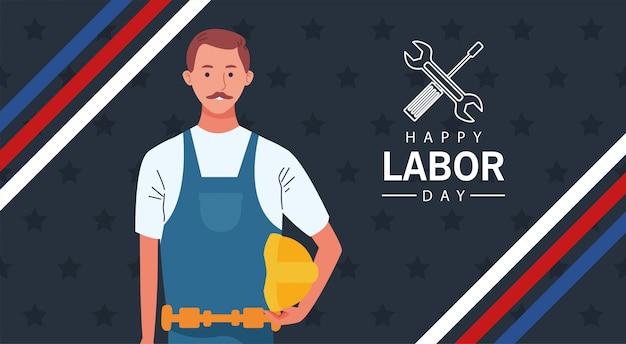 ビルダーコンストラクターワーカーとの幸せな労働者の日のお祝い