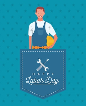Happy labor day celebration with builder constructor worker