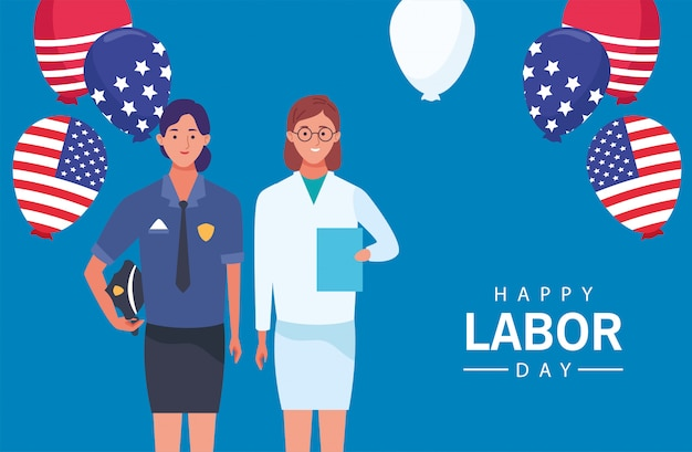 女性警察と医師との幸せな労働者の日のお祝い