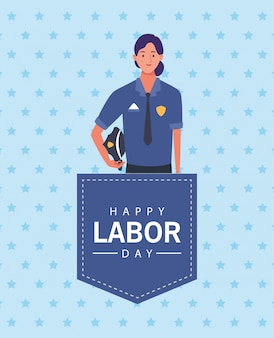 Happy labor day celebration with female police