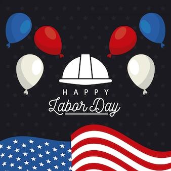 フラグのヘルメットと風船ヘリウムで幸せな労働者の日のお祝い