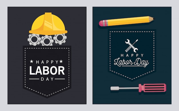 Happy labor day celebration with helmet and pencil
