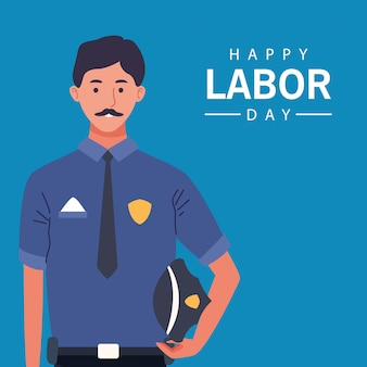 Happy labor day celebration with police officer worker