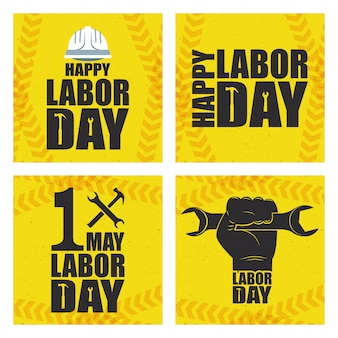 Happy labor day celebration with set icons