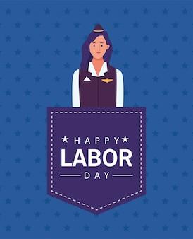 Happy labor day celebration with stewardess vector illustration design