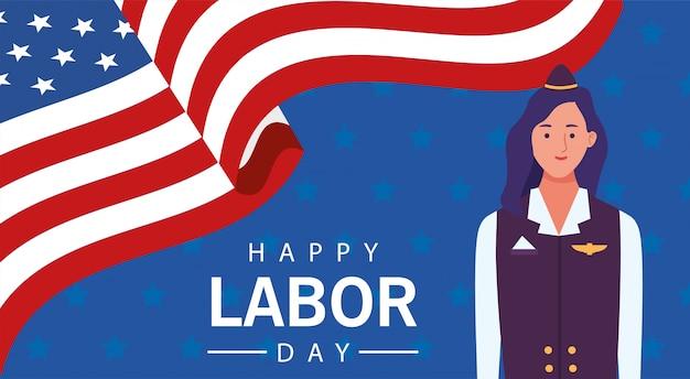 スチュワーデスとの幸せな労働者の日のお祝い