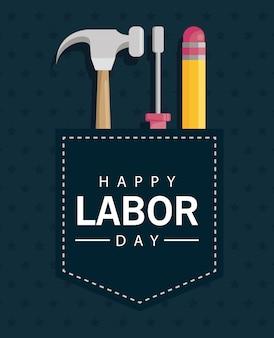 ツールをポケットに入れて幸せな労働者の日のお祝い