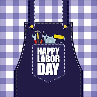 Счастливое празднование дня труда с инструментами в кармане