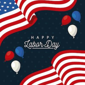 アメリカの国旗と風船ヘリウムで幸せな労働者の日のお祝い
