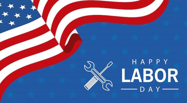 アメリカの国旗とツールで幸せな労働者の日のお祝い