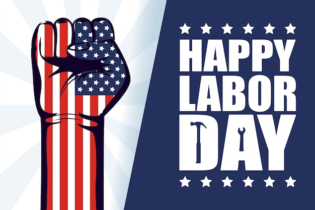 Happy labor day celebration with usa flag and hand fist