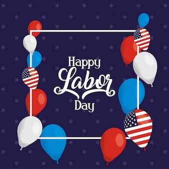 풍선 헬륨에 미국 국기와 함께 행복 한 노동절 축 하