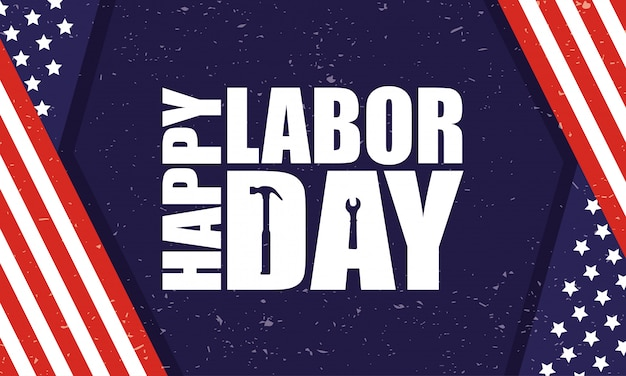 Happy labor day celebration with usa flag and lettering