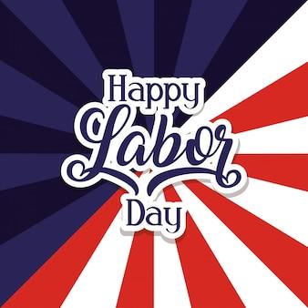 미국 국기와 함께 행복한 노동절 축하