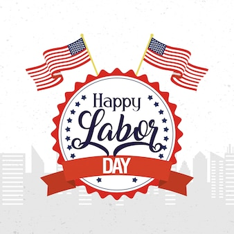 Happy labor day celebration with usa flags in emblem