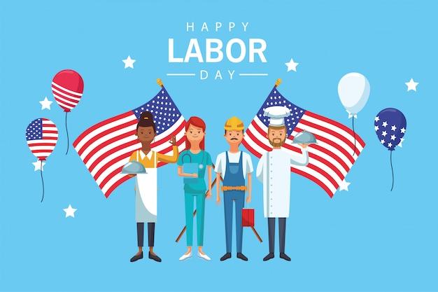 Празднование дня труда с рабочими и флагами