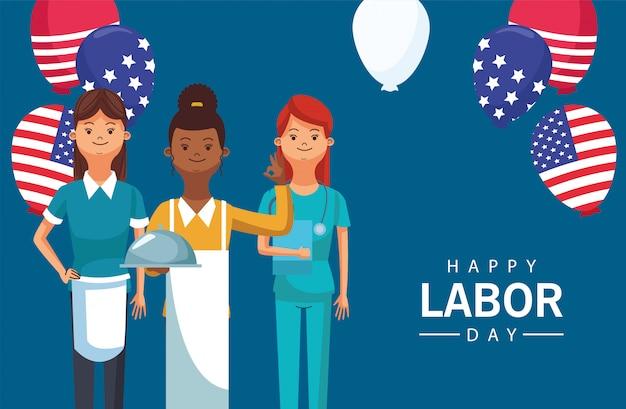 労働者との幸せな労働者の日のお祝いはヘリウムを風船