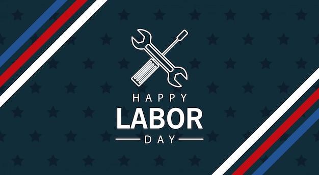 Счастливое празднование дня труда со скрещенными гаечным ключом и отверткой