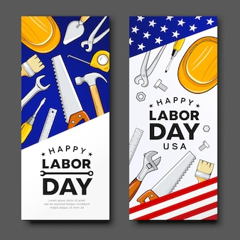해피 노동절 건설 도구 미국 국기 벡터 수직 배너 컬렉션