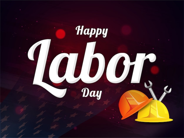 Happy labor day design with worker helmet and wrench tool