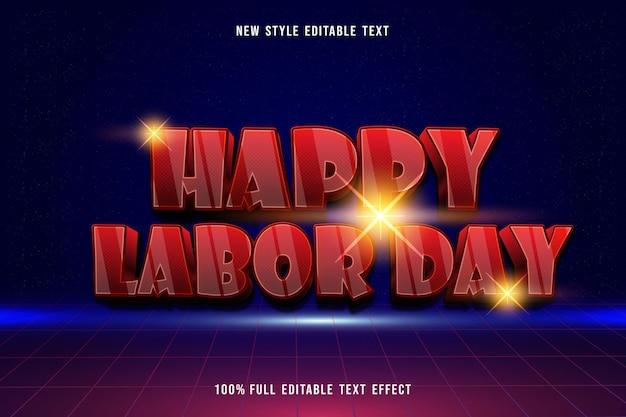 Happy labor day editable text effect modern neon style Premium Vector