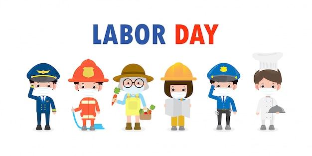 新しい通常のライフスタイルコンセプトの幸せな労働者の日、フェイスマスクを着用しているさまざまな職業の人々がコロナウイルスを保護
