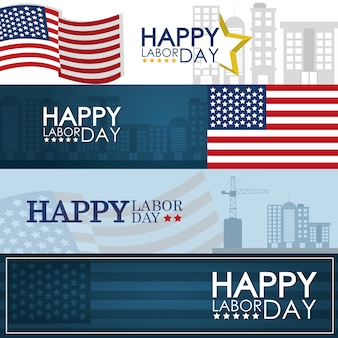 Happy labor day frames with cityscape