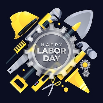 Happy labor day on gear shaped glass morphism