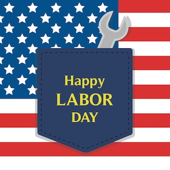 Happy labor day greeting card illustration.