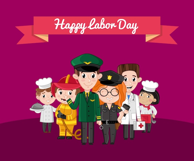 Happy labor day greeting card with children