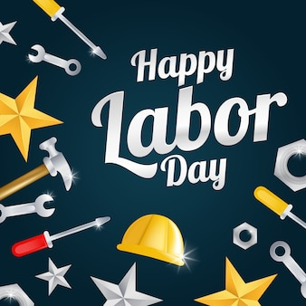 Happy labor day greeting card with helmet workers